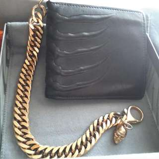 Alexander McQueen Ribcage Embossed Leather Wallet W/ Gold Skull Chain