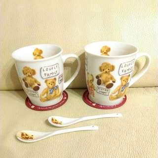 🚚 泰迪熊杯墊湯匙杯組
