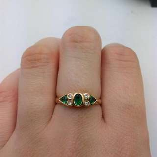 Genuine 9CT Yellow Gold Synthetic Emerald And Diamond Ring