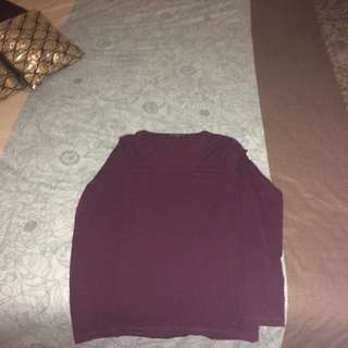Maroon Small Cotton Long Sleeve David Lawrence