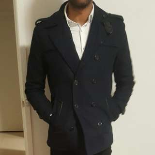 Politix Navy Blue Pea Coat