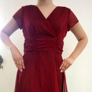 Red Flowing Wedding-style Dress