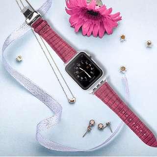 Apple Watch 38mm Pink Croc Leather Strap