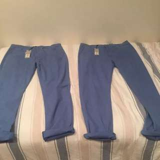 2 Pairs Of David Jones Blue Yonder Chinos Size L