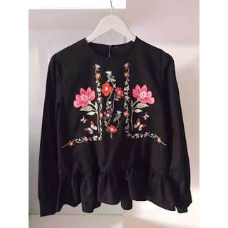 Zara Inspired Blouse with ruffled hem & floral embroidery, black