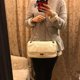 Chanel White Leather Handbag