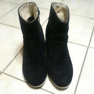 麂皮粗跟短靴(黑色38)