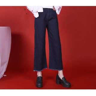 🚚 芍藥居原創設計 小墨藍卷邊百搭牛仔褲 深藍S號 牛仔寬褲 單寧