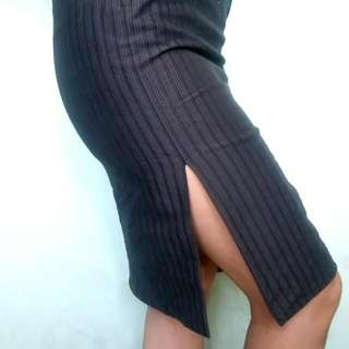 Office Skirt With Pinstripe and High Slit