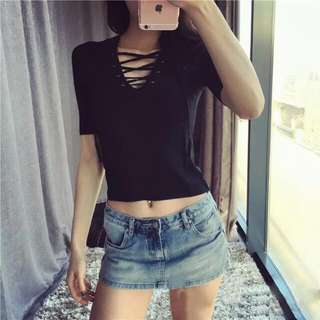 [Instock] Lace Up Rib Crop Top