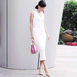 KLARRA Midi Shift Dress (White)