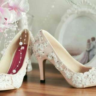 High Heels Wedding Brukat Baby Pink