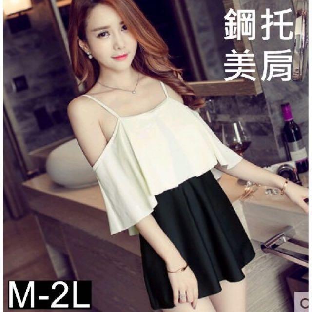 預購 2色 M-2L 性感一字肩連身顯瘦遮肚洋裝式泳裝