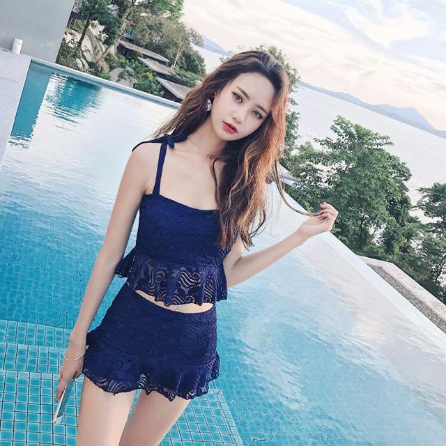 預購 S-XL 2色 韓版新款兩件式蕾絲綁帶泳衣