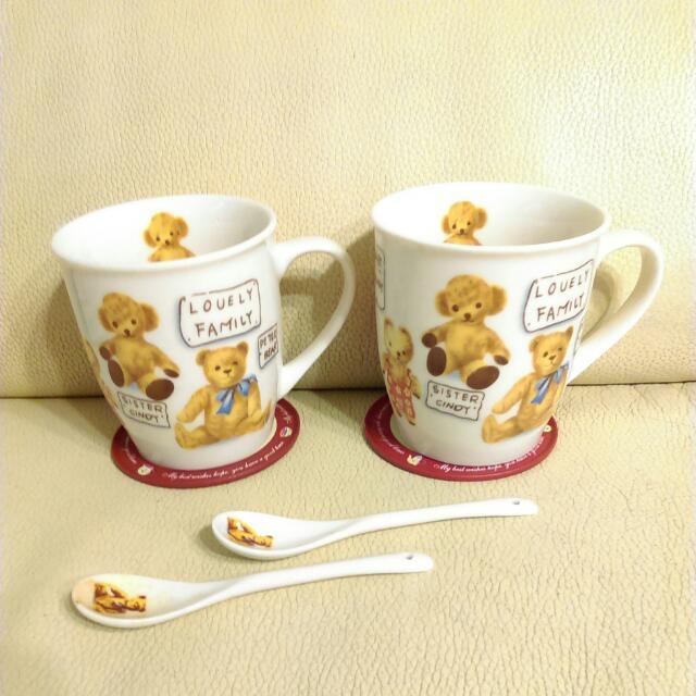 泰迪熊杯墊湯匙杯組