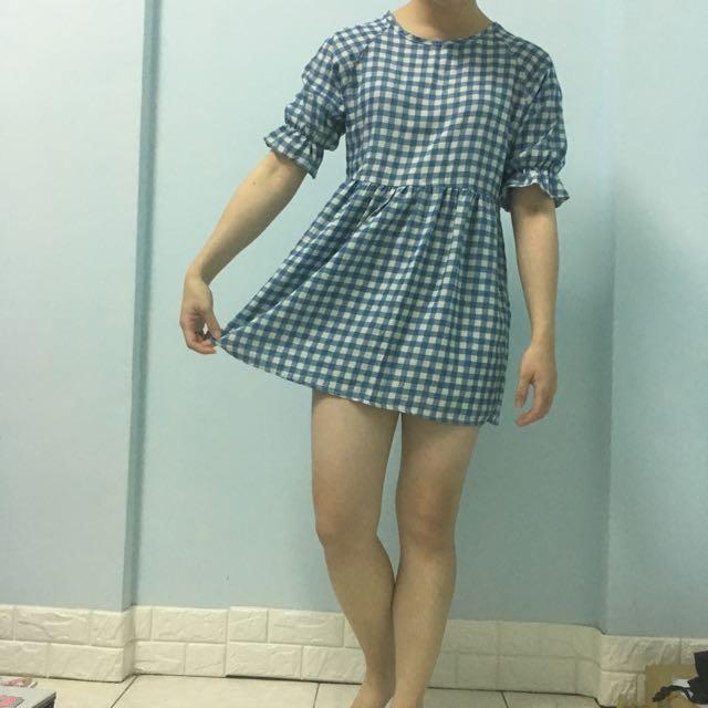 小藍格拉鏈洋裝