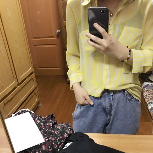 黃色雪紡條紋