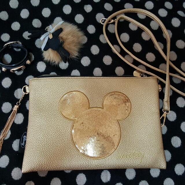 Y拍售出【二手私物】正韓 金色 米奇亮片手拿包/斜背側背扁包