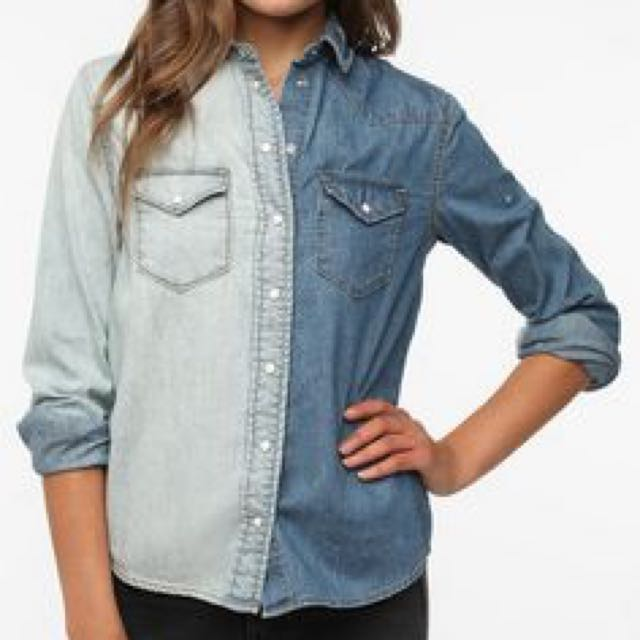 BDG Urban Outfitters Two Tone Denim Button Down Shirt