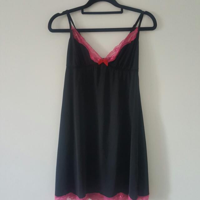 PRICE DROP - Black And Pink Silk Slip