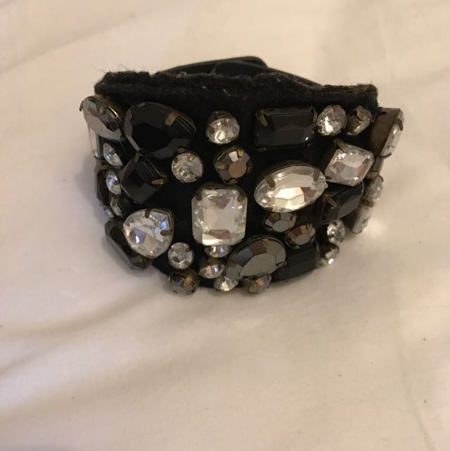 Black Jeweled Adjustable Cuff
