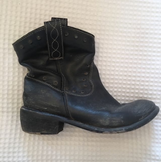 Black Leather Boots Size 37