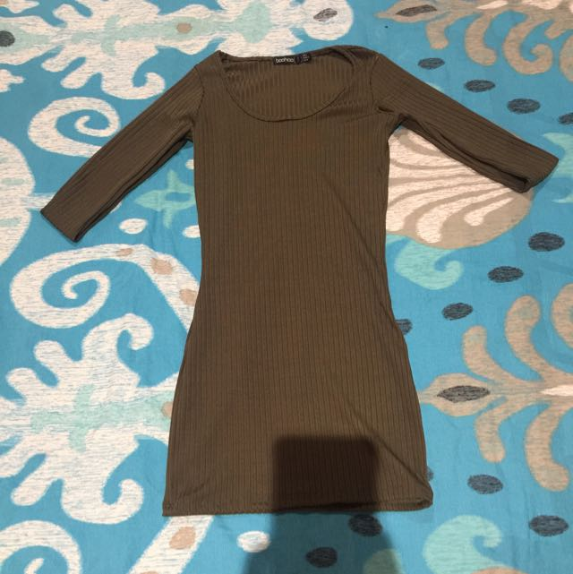 Boohoo Khaki Long Sleeve Dress