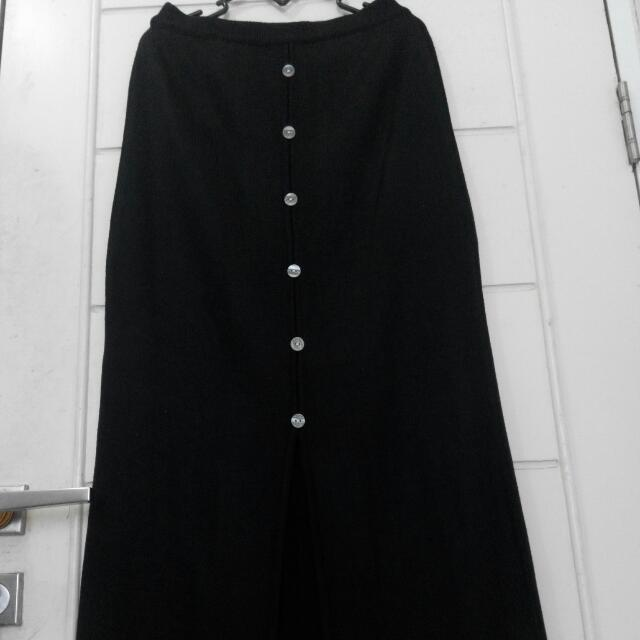 Button Up Slit Long Skirt