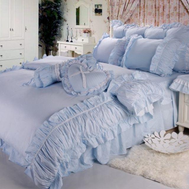 【預購】BZ - 100%全棉!精紡斜紋活性印染:床裙/床罩組(單人/標準/加大)_免運。
