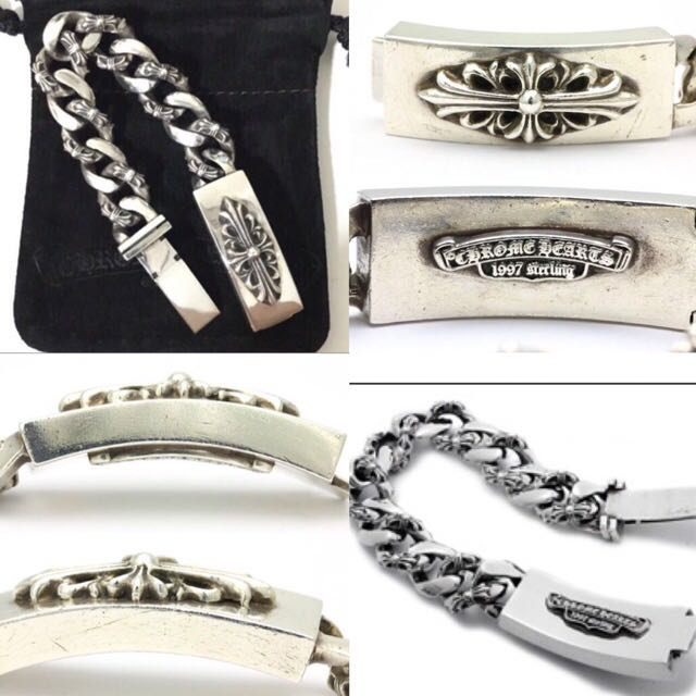 cf3049884ab CHROME HEARTS 925 FLORAL CROSS ID BRACELET FANCY CHAIN 11 LINK ...