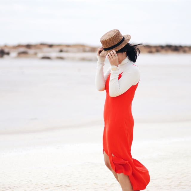 CMEO COLLECTIVE ORANGE/RED DRESS XS