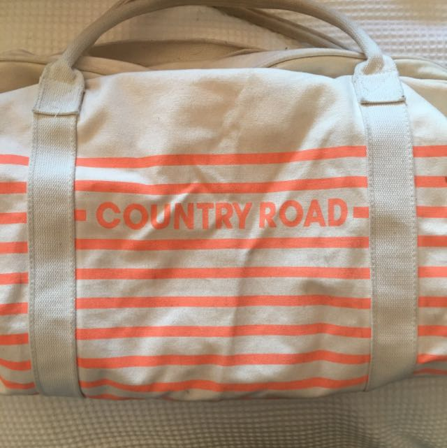Country Road Orange And Cream Tote Bag