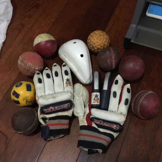 Cricket Gloves, Box And Balls