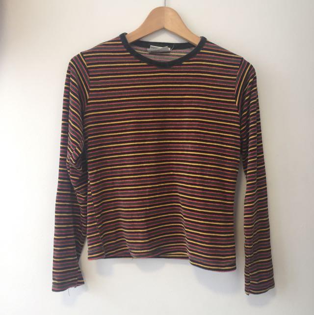 Cute Vintage 90's Long Sleeve Stripy Top