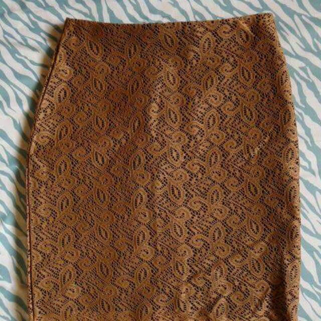 Dark Brown Lace Skirt