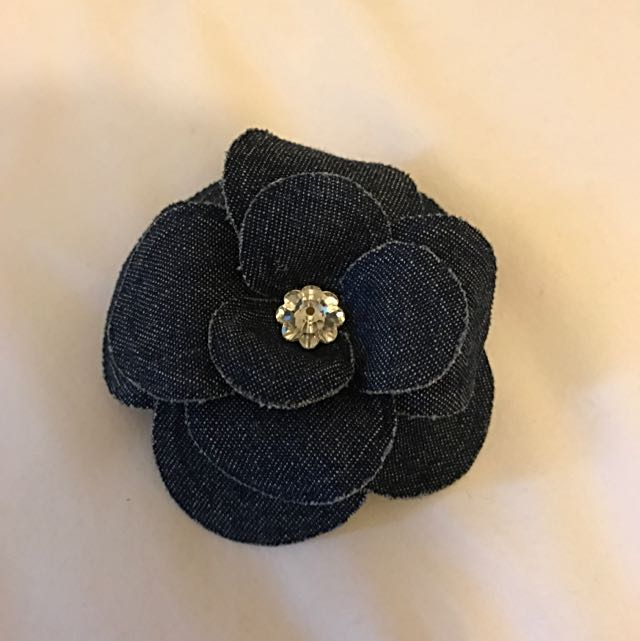 Denim Flower Hair Clip With Diamanté Centre