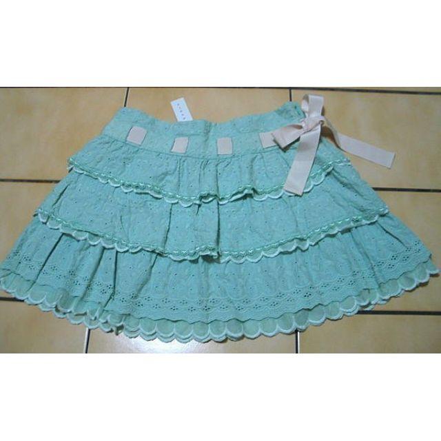 'EPANOUIR花開了全新36號,粉綠色燒花+花朵蕾絲.緞帶滾邊蛋糕短裙