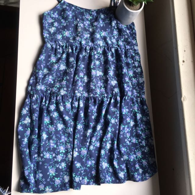 Flowy Blue Rose Dress