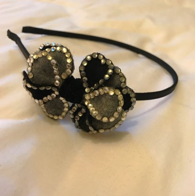 Handmade Black Alice Band With Felt Bow