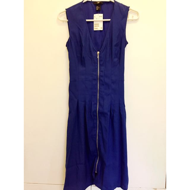 H&M Blue Zipper Dress (US 2)