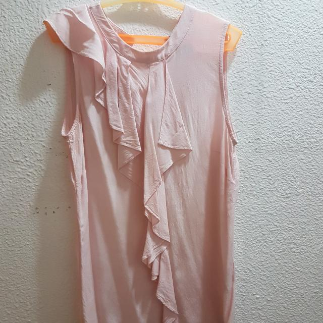 H&M Pink Sleeveless Top With Ruffles