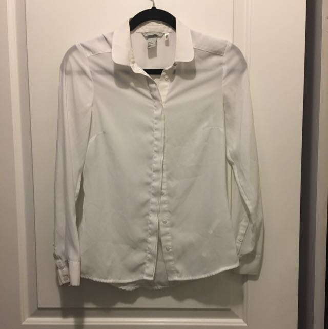 H&M Simple White Shirt Size S Hidden Button