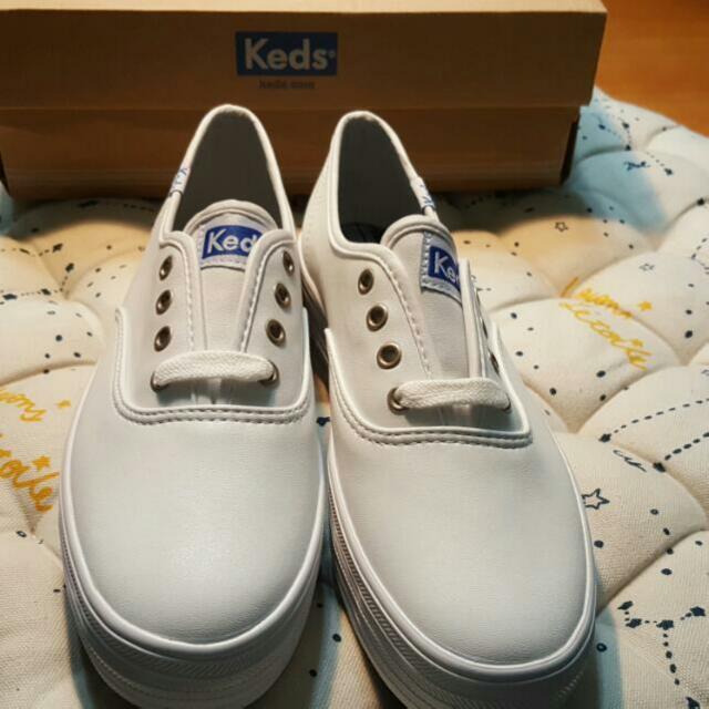 Keds皮質高底帆布鞋