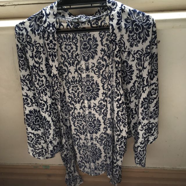 Kimono - Navy Blue And White