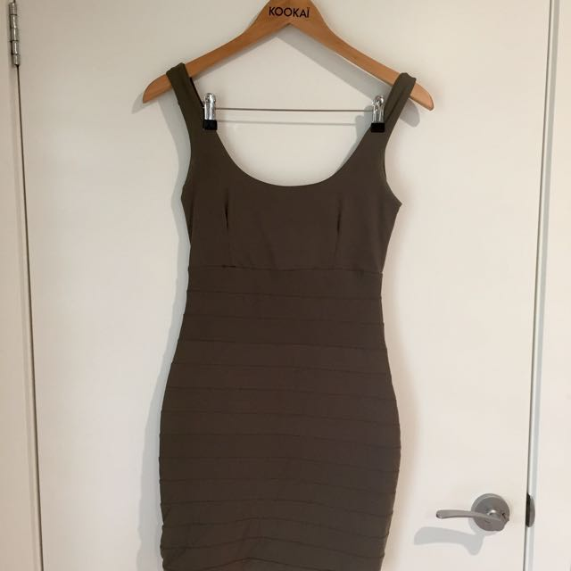 Kookai Taupe Lycra Dress, Short