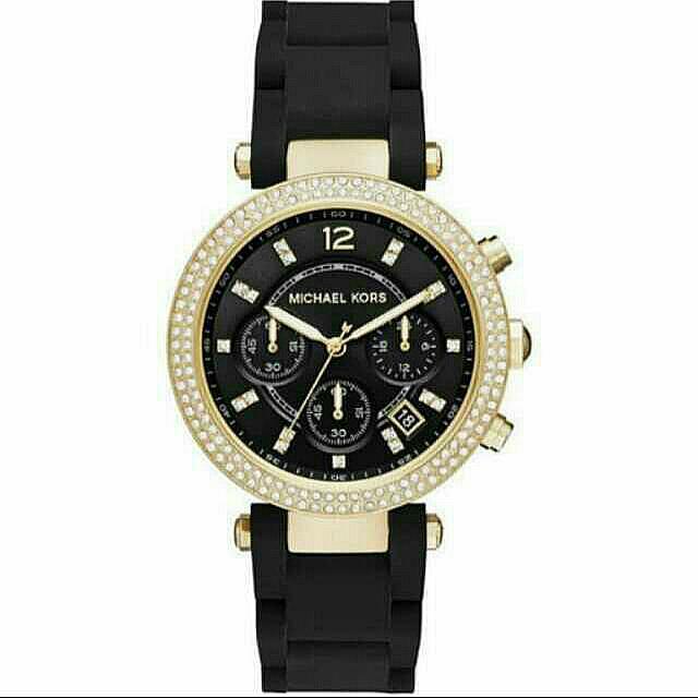Michael Kors  晶鑽三眼計時腕錶-黑x金框 38mm  MK6404  免運