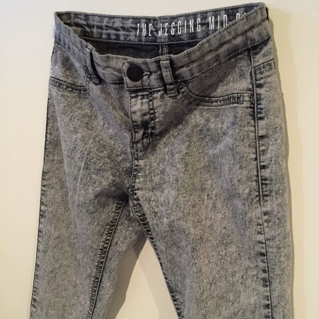Mid Rise Grey Jeggings