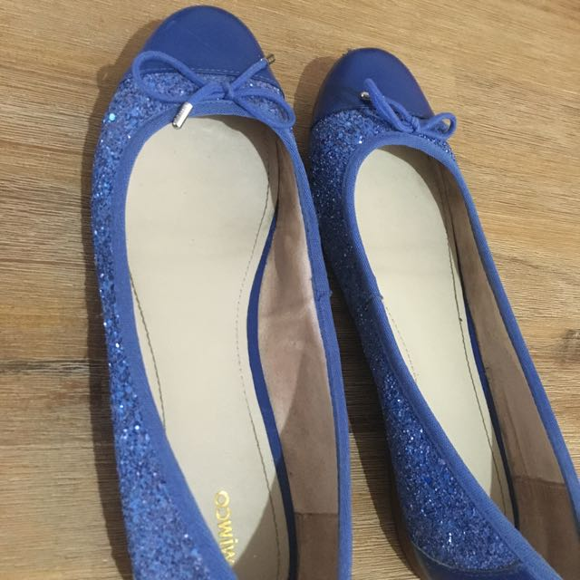 Mimco Blue Leather And Glitter Flats