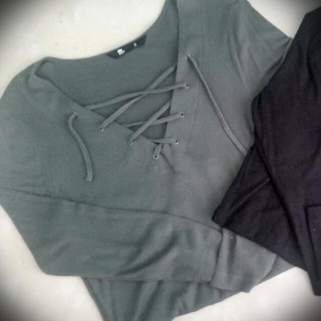 3x Multipack Save Khaki, Grey Black Long Sleeve Drawstring Top
