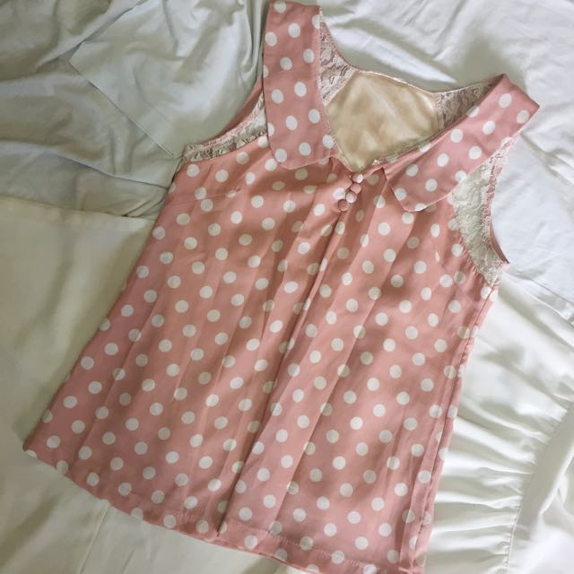 Pink Polkadot Top